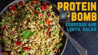 RAINBOW Salad wLENTIL &amp COUSCOUS Recipe  Vegan Protein BOMB Guaranteed to Fulfill