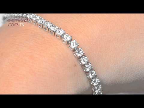 Diamond 5ct Tennis Bracelet Set In 18K White Gold - FDT23 7
