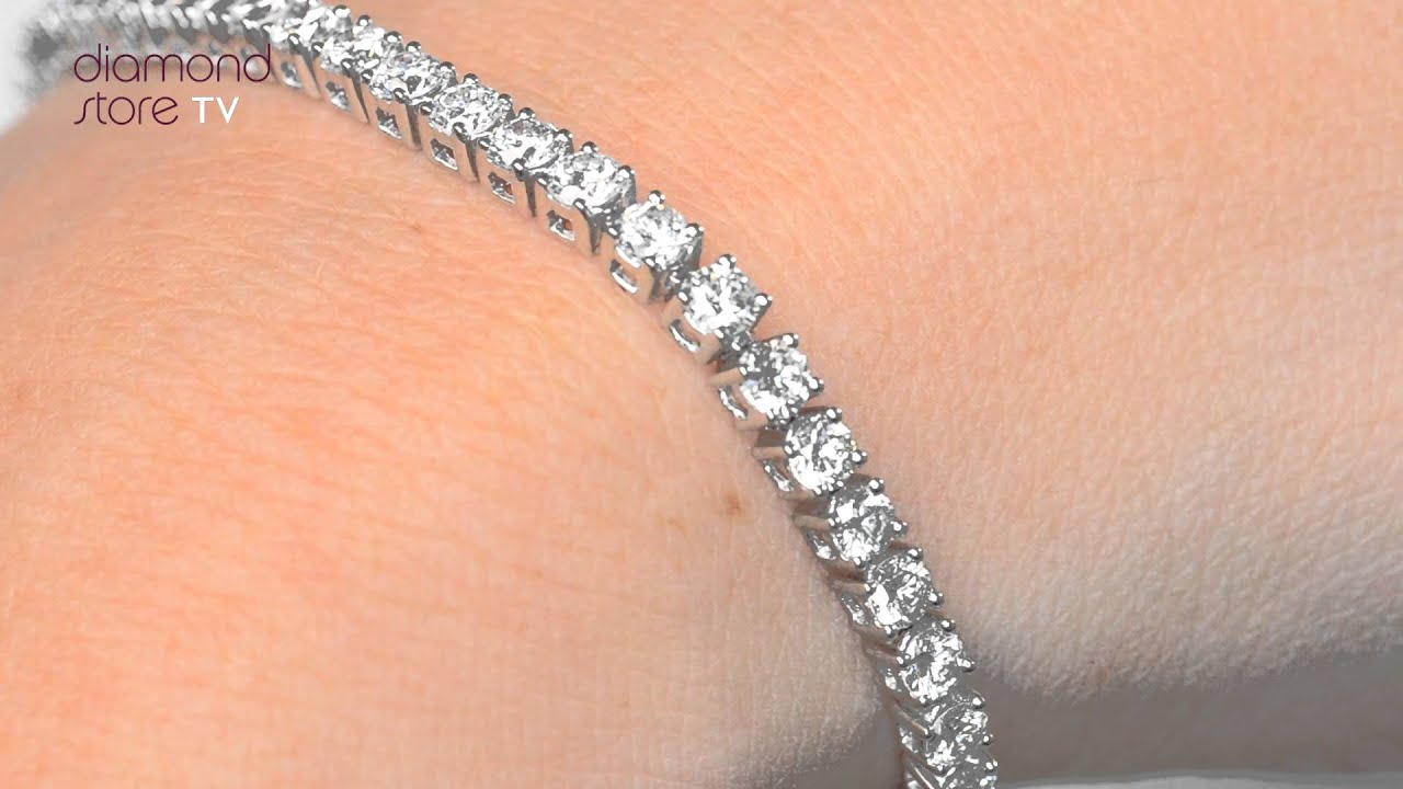 Diamond 5ct Tennis Bracelet Set In 18k White Gold Fdt23