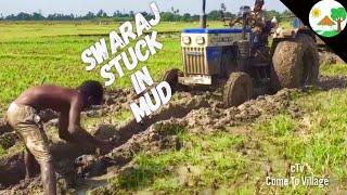 TRACTOR Stuck In Mud SWARAJ 744 FE / Swaraj 744 FE stuck in empty load / Swaraj Tractor Stuck in Mud