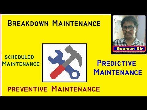 Breakdown Maintenance - Scheduled Maintenance - Preventive Maintenance - Predictive Maintenance