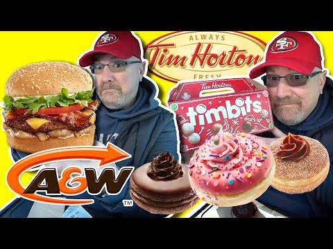 A&W Bistro Uncle Burger Combo 🍔🍩 & Tim Hortons Premium Dream Donuts Lineup!🍔🍩