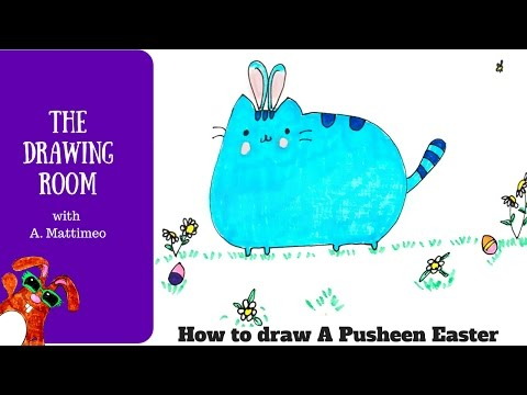 Learn how to draw a pusheen style Easter cat - easy cute cartoon cat
