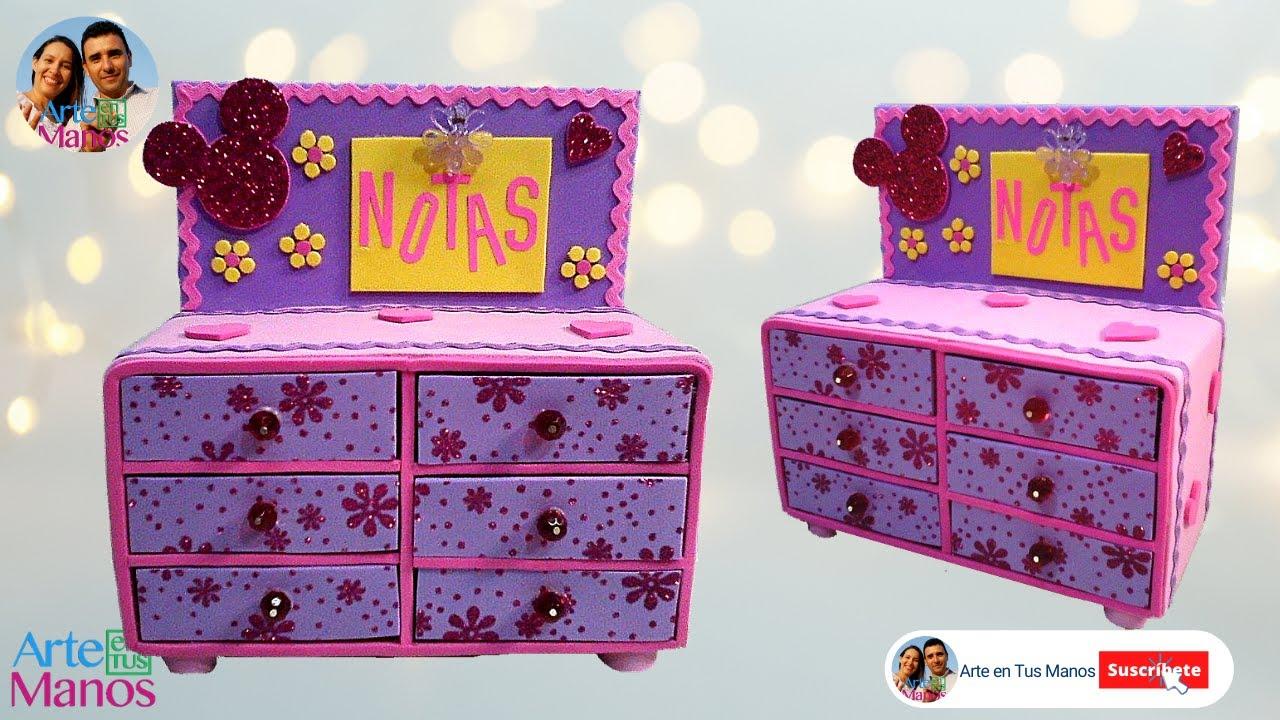 Organizador neceser joyero en foami y cajas de cart n - Como decorar un joyero de madera ...
