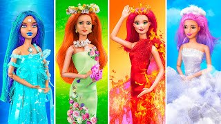 Fire Girl, Water Girl, Air Girl and Earth Girl / 16 Barbie Hacks and Crafts