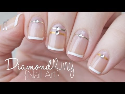 French Manciure Diamond Ring Nail Art  Valentine's Day ...