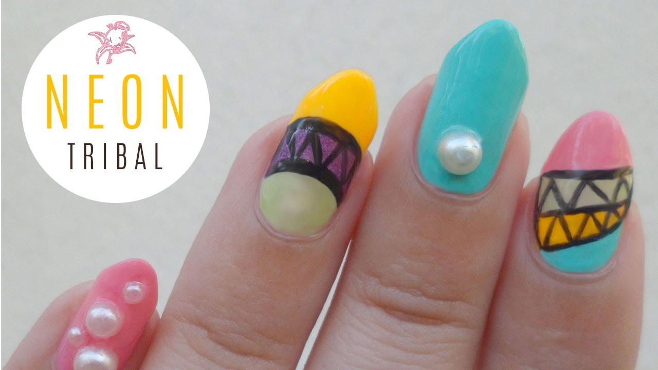 Japanese Tribal Neon Nail Art - YouTube