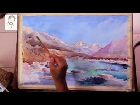 Watercolor Landscape by Artist Sikander Singh Chandigarh INDIA