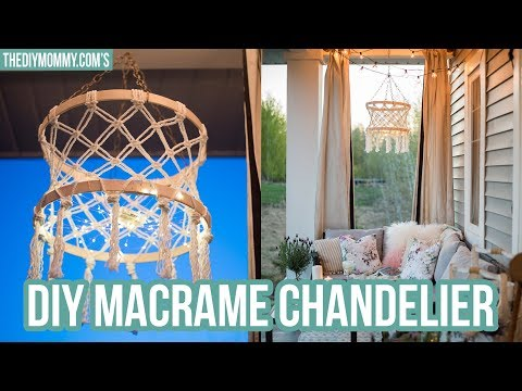 Make a DIY Macrame Boho Chandelier with Fairy Lights