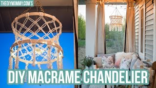 Make a DIY Macrame Boho Chandelier with Fairy Lights