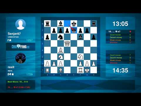 Chess Game Analysis: raxit - Sanjar87 : 1-0 (By ChessFriends.com)