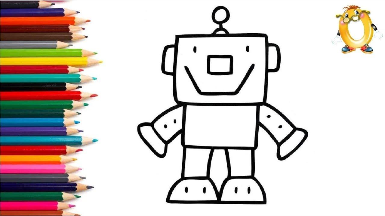 Раскраска для детей РОБОТ. Мультик - Раскраска. Учим цвета ...