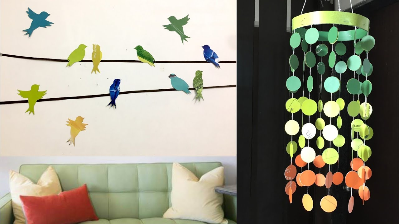 5 Easy Paper Room Decor Ideas Diy Best Out Of Waste Wall Decoration Ideas Youtube