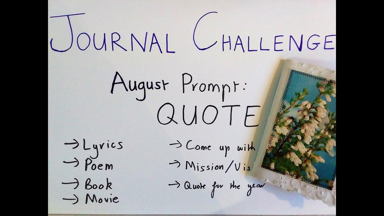 Journal Challenge: August Prompt