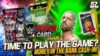 TIME TO PLAY THE GAME? FIRST SEASON 4 MONEY IN THE BANK CASH IN!! NEW PACK? | WWE SuperCard S4