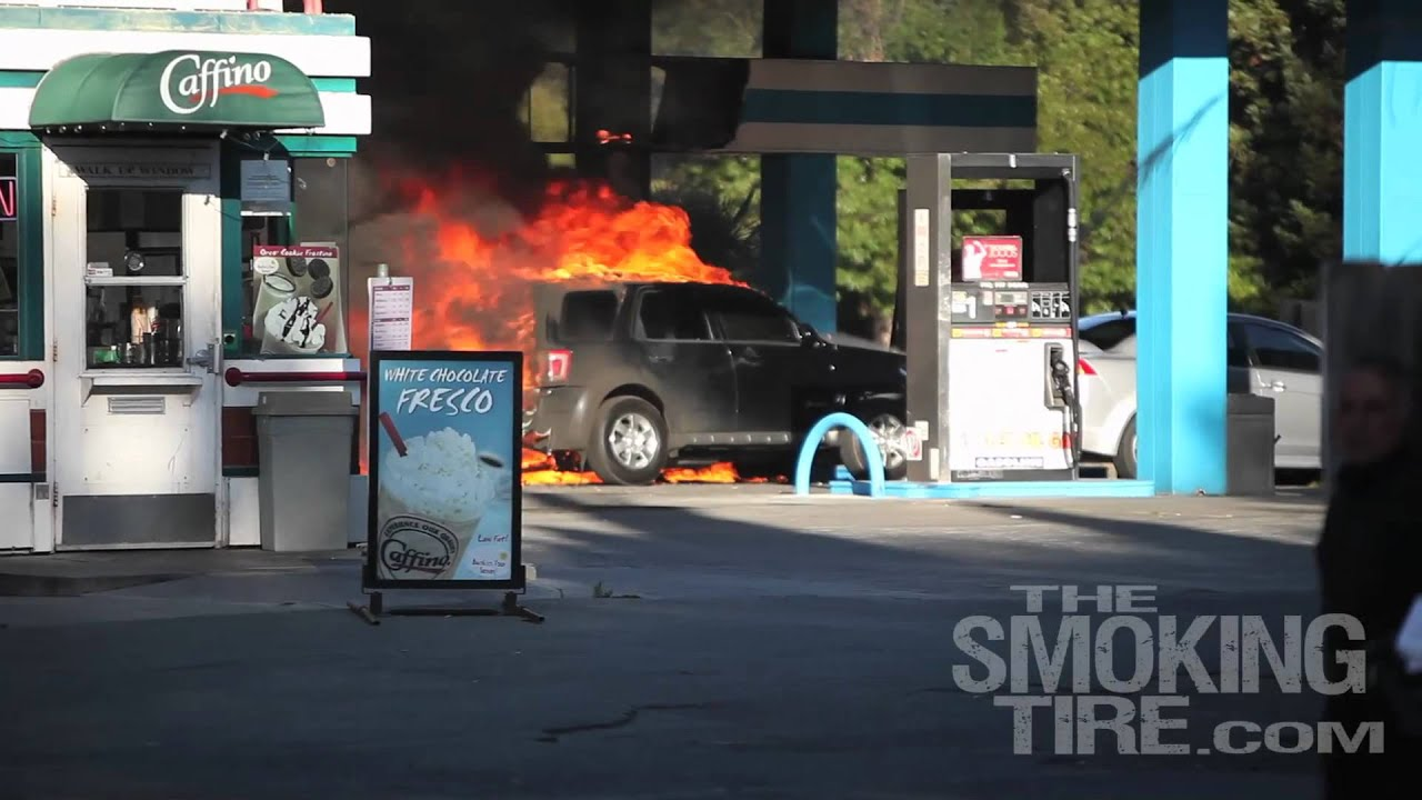 I Need A Gas Station >> Gas station car accident & FIRE! - YouTube