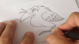 Drawing lessons, how to draw a crow, Уроки рисования, как нарисовать ворону, animation