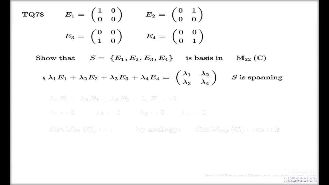 Tutorial q78 basis in vector space of 2x2 matrices youtube publicscrutiny Image collections