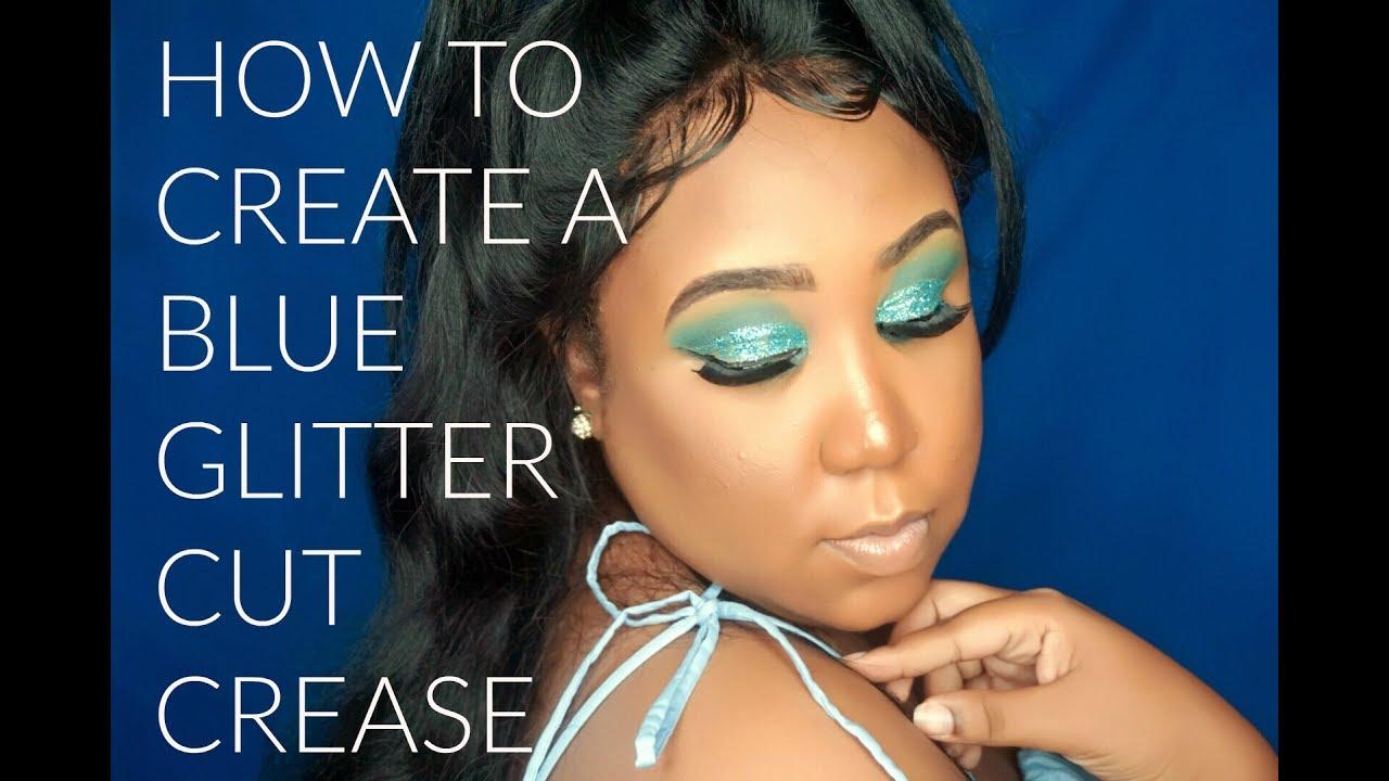 HOW TO CREATE A BLUE GLITTER CUT CREASE (BEGINNER FRIENDLY ... - photo #3