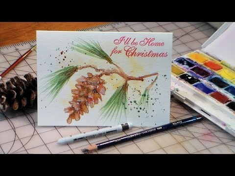 How To Paint Pinecone And Tassel Christmas Card
