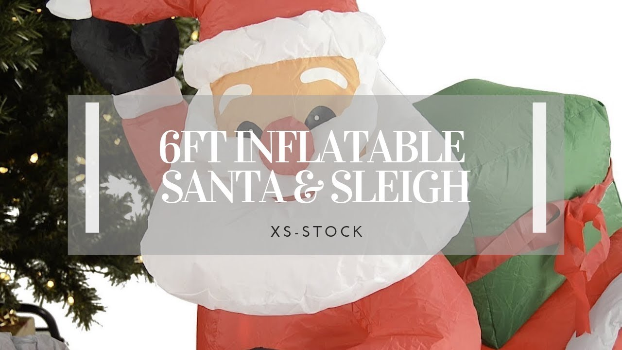 Giant Santa & Sleigh Inflatable Decoration - YouTube