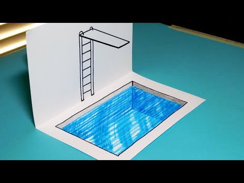 How to Draw a 3D Swimming Pool / Diving Board - Trick Art for Kids
