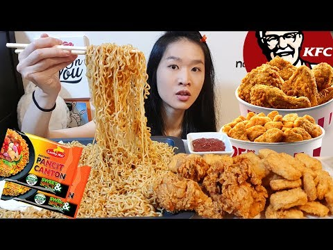Filipino Noodles!! Sweet & Spicy Pancit Canton & KFC Crispy Fried Chicken | Mukbang w/ Eating Sounds
