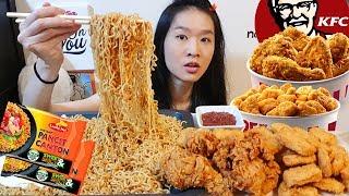 Filipino Noodles!! Sweet & Spicy Pancit Canton & KFC Crispy Fried Chicken | Mukbang w/ Eating Sounds