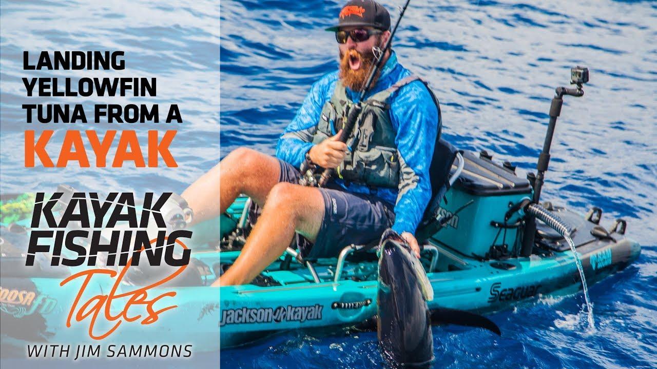 Landing yellowfin tuna from a kayak kayak fishing for Kayak fishing louisiana