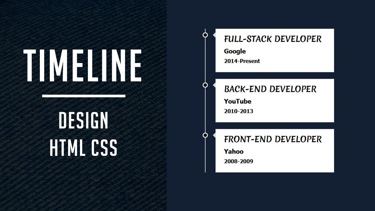 Simple vertical Timeline design html css - Divinector