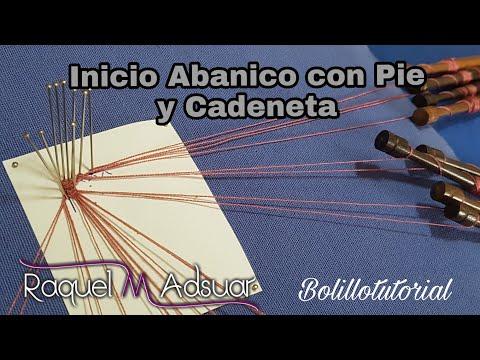 Inicio de Abanico con cadeneta - bolillotutorial Raquel M. Adsuar Bolillotuber