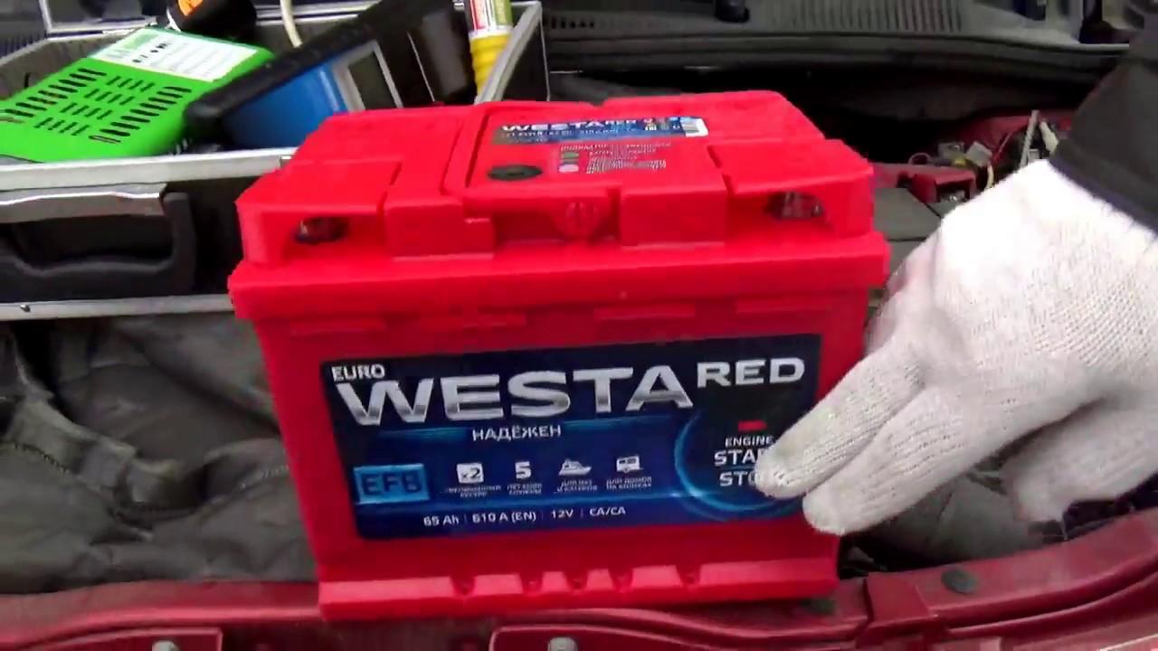 Установка аккумулятора WESTA EFB  на SUZUKI SX4 c Webasto