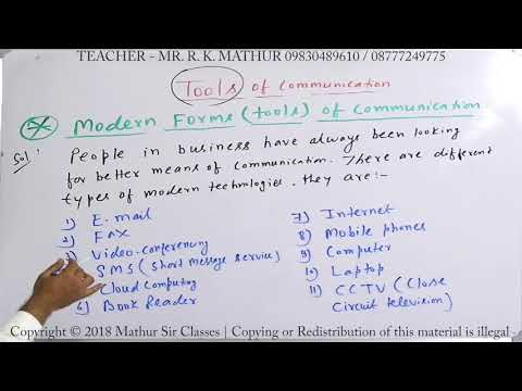 Modern Forms Of Tools Of Communication | Business Communication | Mathur Sir Classes