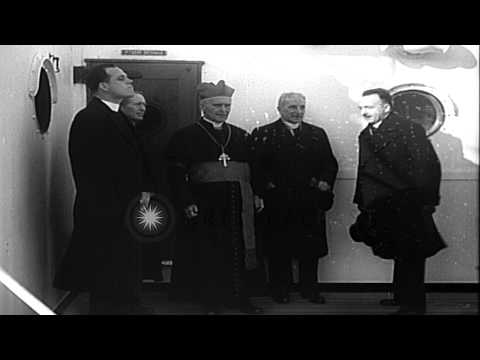 Cardinal MacRory, head of a church in Ireland, visits New York on his way to Rome...HD Stock Footage