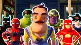 My New Neighbors are from Hello Neighbor,Batman,Flash,Hulk,Spider Man,Dragon Ball Super,The Avengers