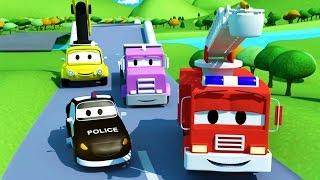Der Streifenwagen mit dem Polizeiauto und dem Feuerwehrauto und Die kaputte Brücke  in Autopolis