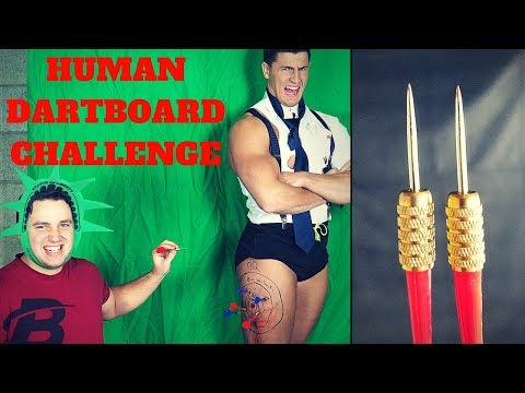 The HUMAN DARTBOARD CHALLENGE *Extreme Pain*   Bodybuilder VS Throwing Darts