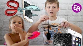 Режем игрушки Разрезали антистресс и разбили iphone Bad Baby режут игрушки Что внутри айфона