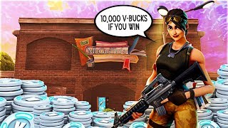10,000 FREE VBUCKS IF YOU WIN THIS GAME! - Fortnite Battle Royale Bet