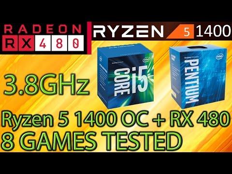 Ryzen 5 1400 OC vs i5 7400 vs G4560 - RX 480 8GB - 8 Games Tested - Gaming Performance! - Benchmarks