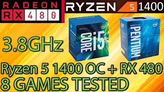 ryzen 5 1400 oc vs i5 7400 vs g4560 rx 480 8gb 8 games tested gaming performance benchmarks