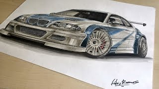 Razor wanted this car | BMW M3 GTR [Need For Speed:Most Wanted 2005 | Fan Art] Car Drawing