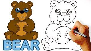 Very Easy! How to Draw Cute Cartoon Bear. Art for Kids.