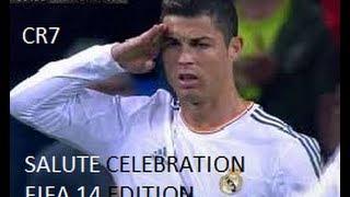 Cristiano Ronaldo salute celebration against Barcalona on FIFA 14