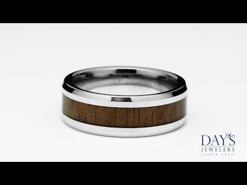 Benchmark Cobalt Chrome Wedding Band with Rose Wood Inlay (8mm)