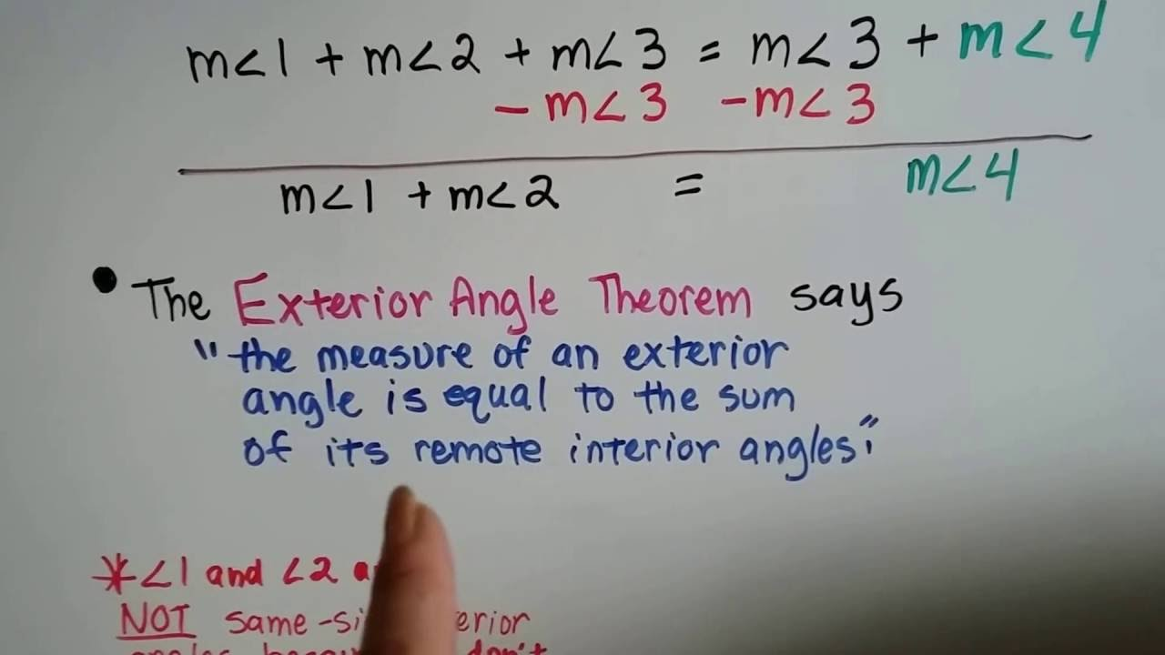 Grade 8 Math #11.2f, Exterior Angles And Remote Interior Angles