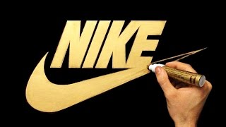 Satisfying Video - How To Draw Nike Logo With Gold Marker