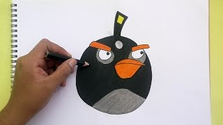 Dibujando y coloreando a Bomb (Angry Birds)- Drawing and coloring to Bomb (Angry Birds)