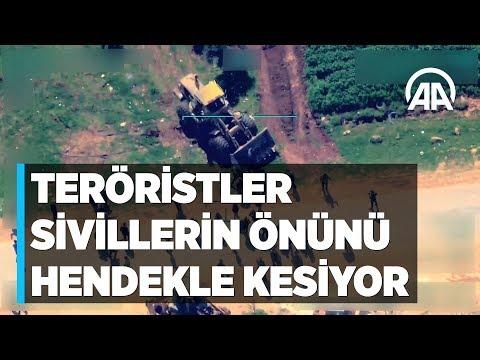 Terör örgütü YPG/PKK sivillerin Afrin'den çıkışını hendeklerle engelliyor