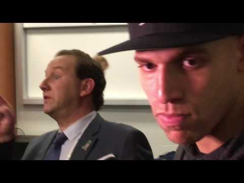 "As Jimmy Graham talks about huge Seahawks night, Russell Wilson yells ""bad man!"""